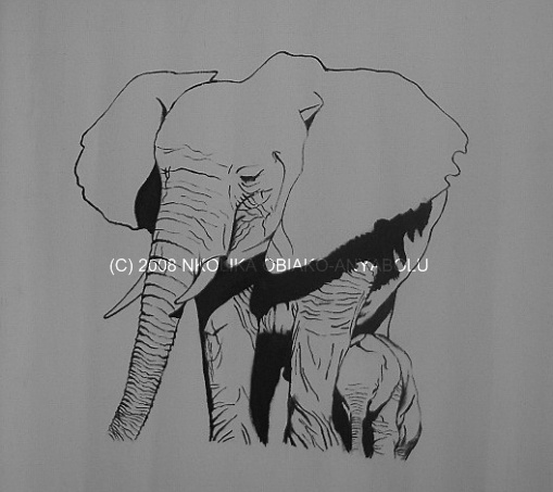 Oil Painting of an Elephant by Nkolika Anyabolu