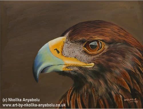 Oil Painting of a Golden Eagel by Nkolika Anyabolu