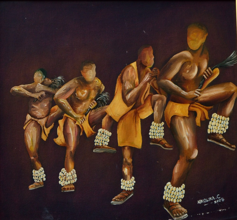 Oil Painting of Botswana dancers by Nkolika Anyabolu