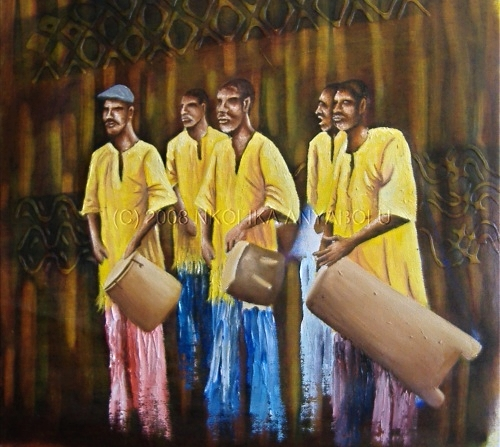 Oil Painting- African Drums by Nkolika Anyabolu