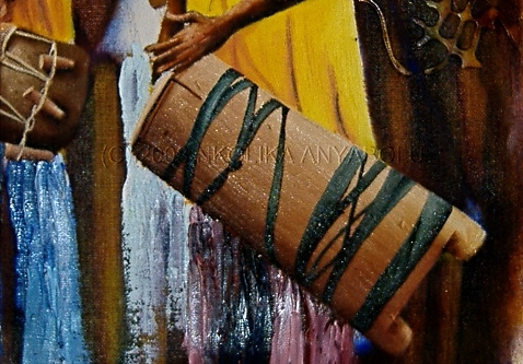 African Drums: Oil Painting Demo by Nkolika Anyabolu