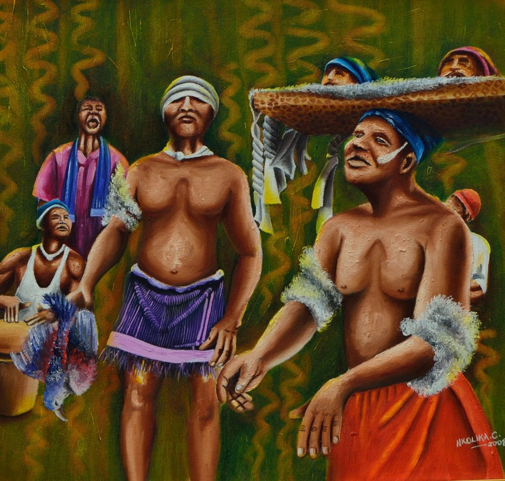 African traditional dancers by Nkolika Anyabolu