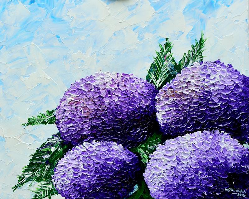 "Original 18"" x 22"" Acrylic Impasto Knife painting of Blue Hydrangea by Nkolika Anyabolu"