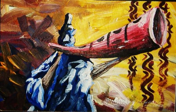 ACRYLIC PAINTING OF AN AFRICAN HORN PLAYER © NKOLIKA ANYABOLU
