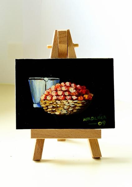 ACEO ACRYLIC PAINTING OF A BUCKET AND TOMATOES © NKOLIKA ANYABOLU