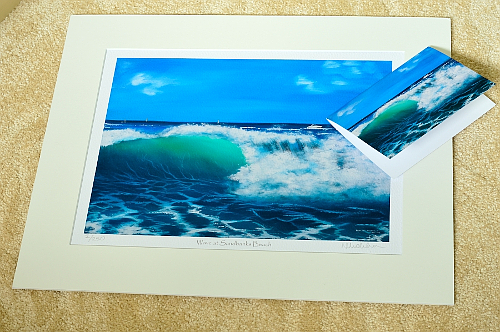 Giclee Print and Greeting Card of Wave at Sandbanks Beach
