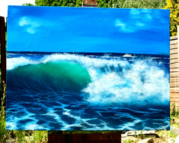 "Original 40"" X 30"" Oil on Canvas Painting- Wave At Sandbanks Beach"