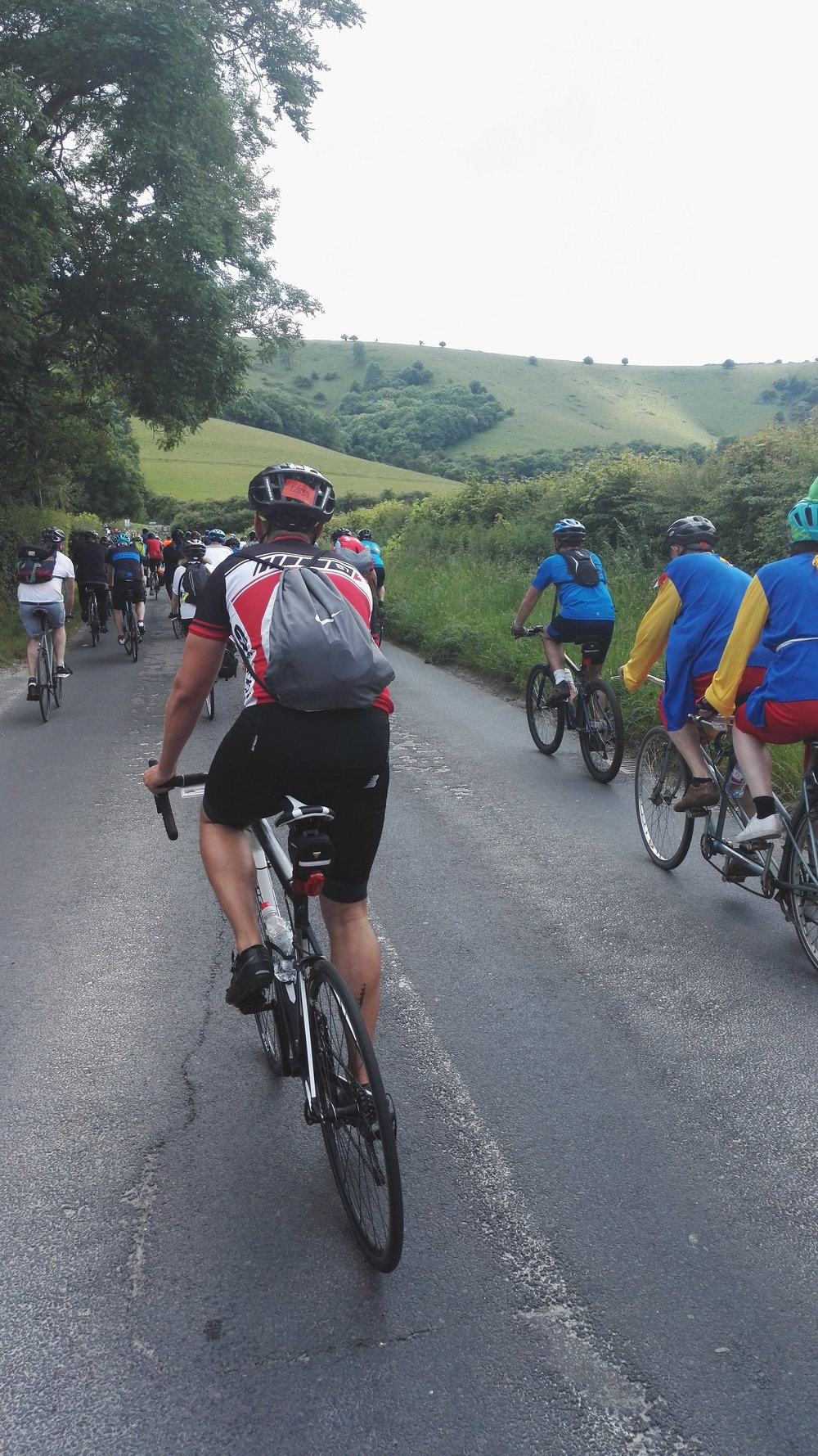 Lots of like minded cyclists making their way up the 814 ft high Ditchling Beacon