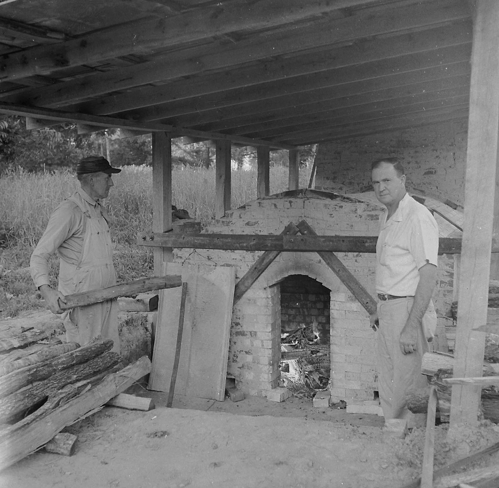 Ben Owen and Boyce Yow Firing Groundhog Kiln 1959.jpg