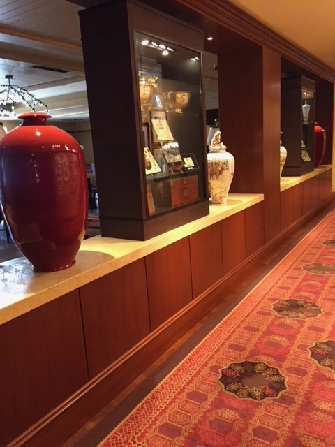 "Covered Jars 48"" tall for Sun Valley Idaho Restaurant in Cabernet Glaze.  Design by Frank Nicholson Inc."
