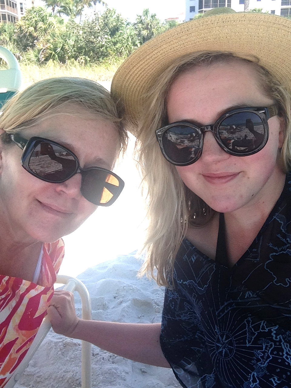 mother daughter selfie. worshipping the shade, what we do best.
