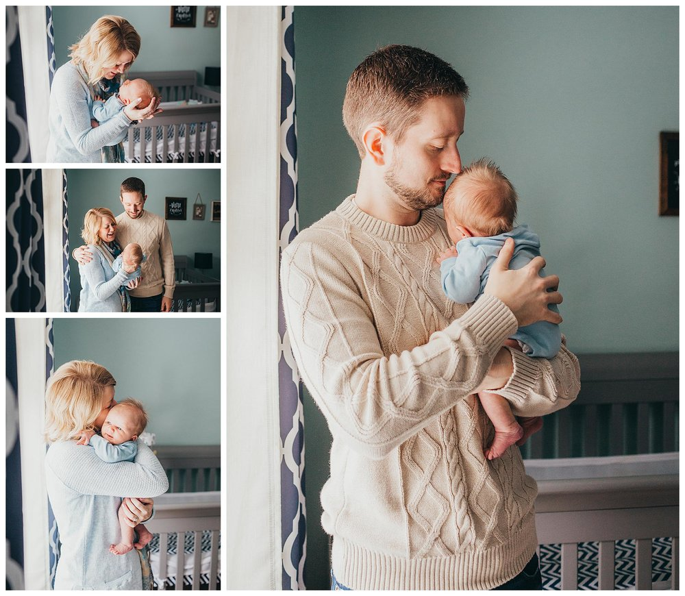 bright and airy newborn photography in baby boys nursery posing with mom and dad in muskegon michigan home
