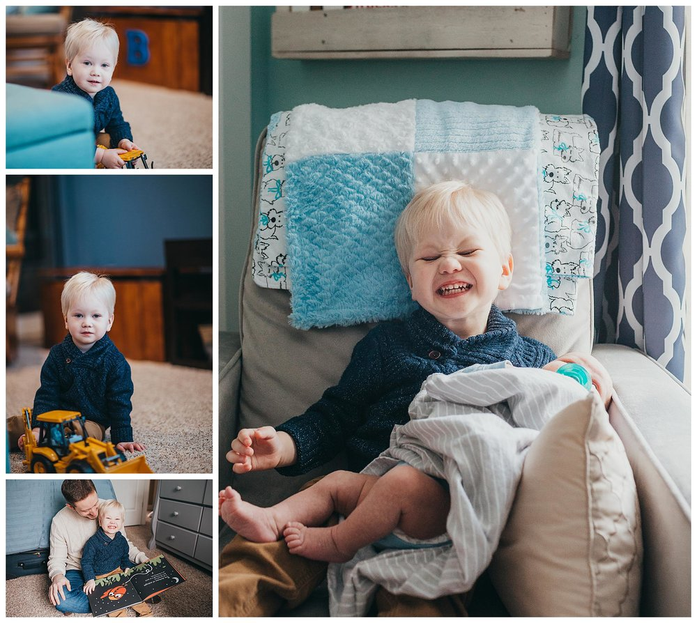 fun lifestyle family photo session with a toddler big brother and newborn baby boy in Holland Michigan home