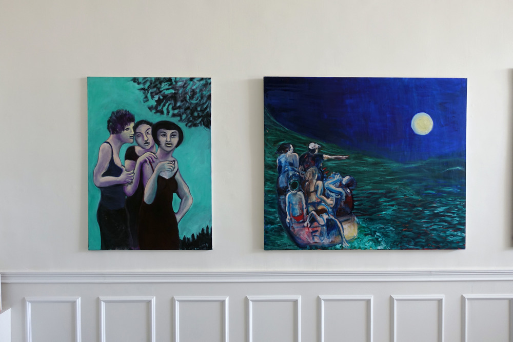 (left) THE THREE 47 x 36in Oil on canvas     (right) AT SEA 48 x 60in Oil on canvas
