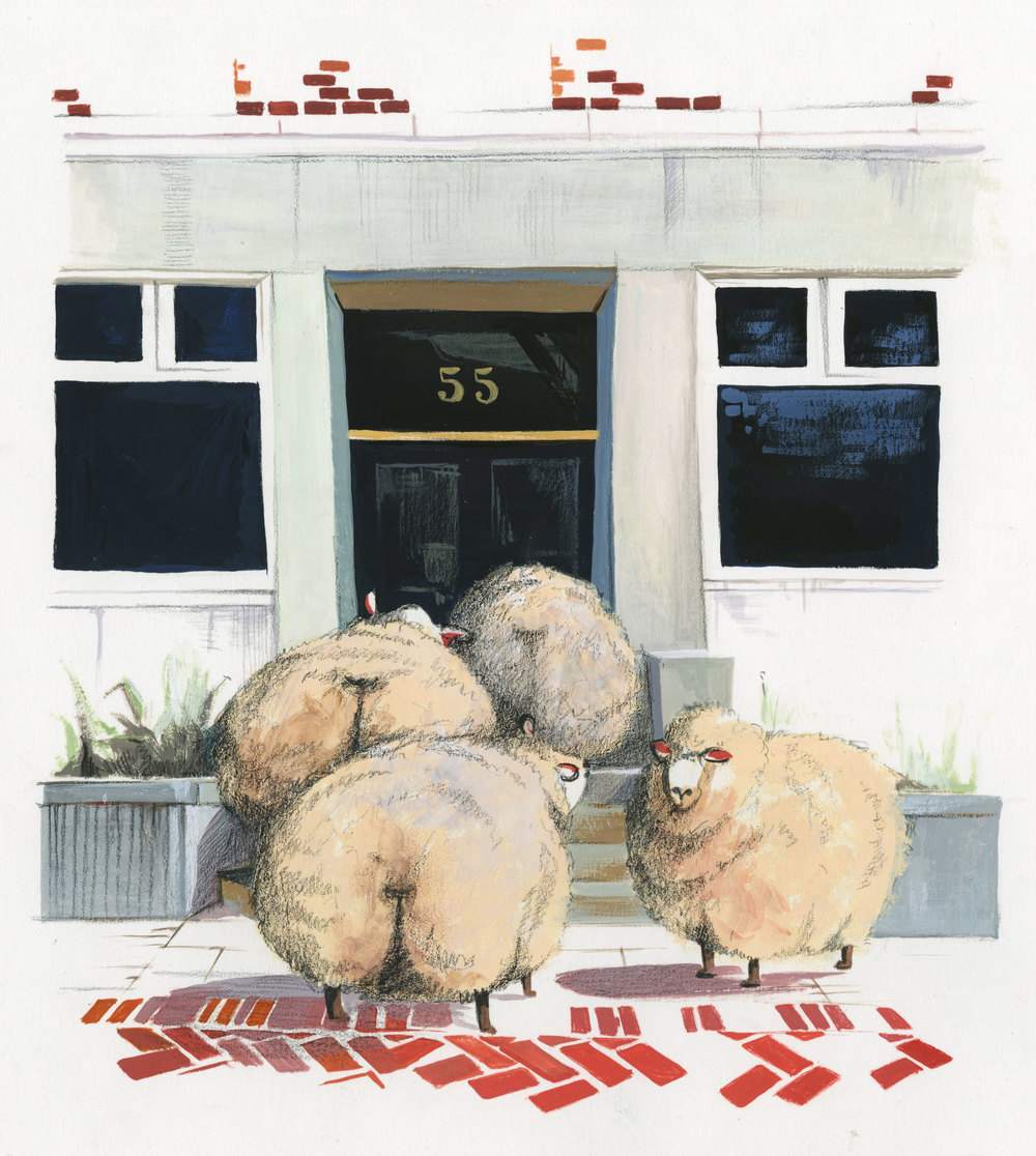 Sheep at number 55, RISD, Priscilla Tey