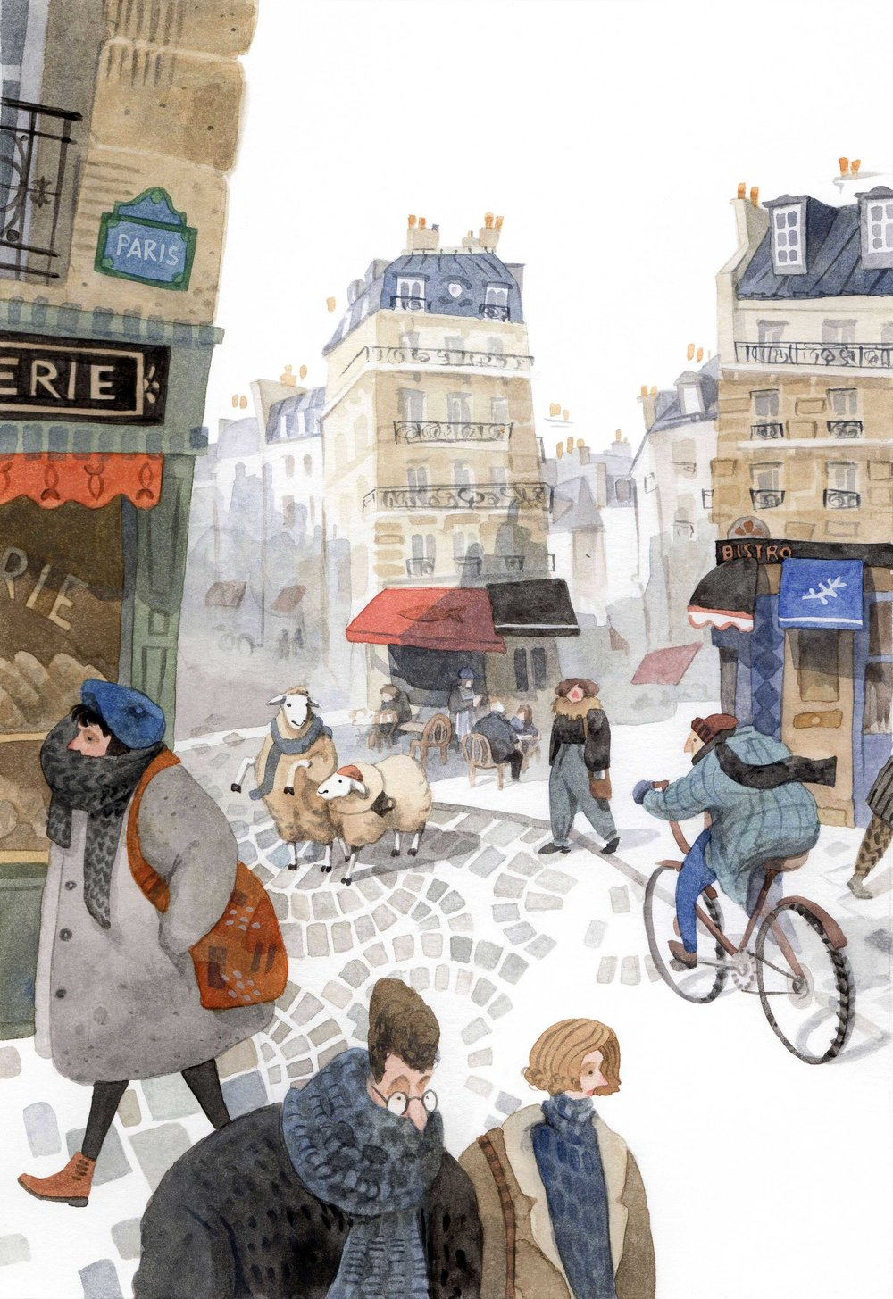 Lost sheep in Paris, Priscilla Tey, Illustration Art