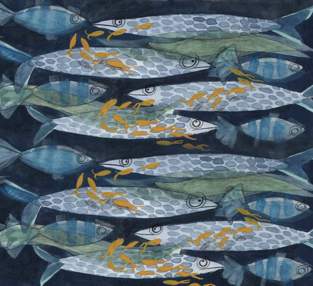Fish Pattern, Priscilla Tey, Illustration Art