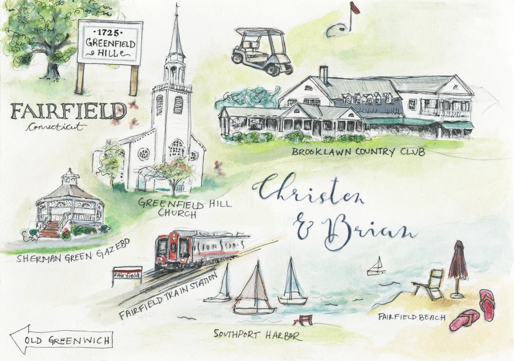 Wedding Map- Fairfield, CT