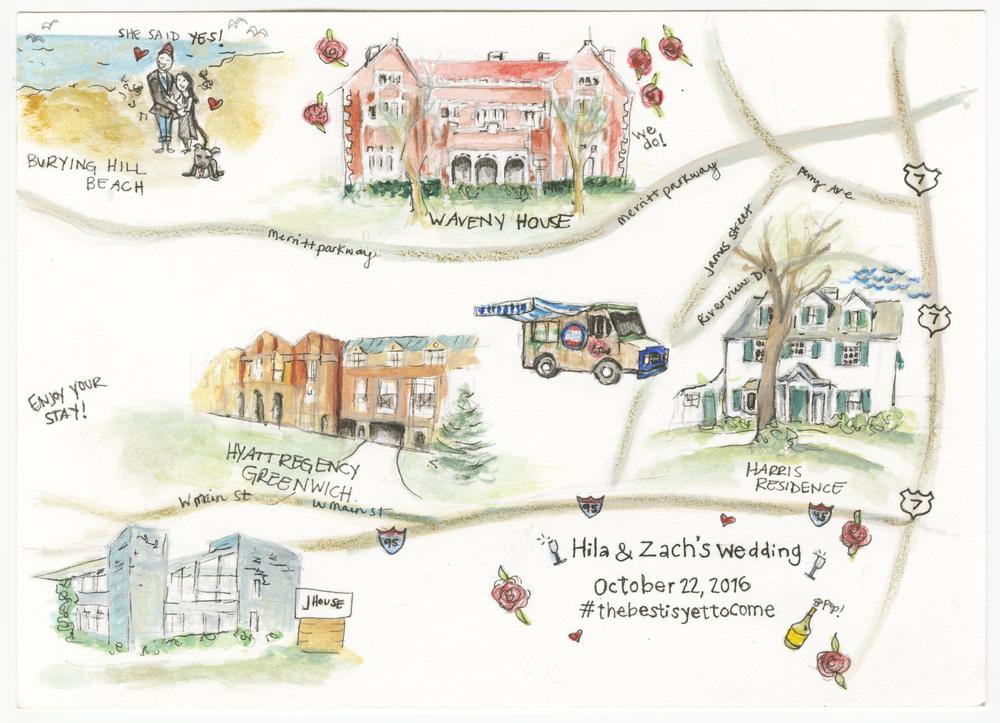 Wedding map- Greenwich, CT