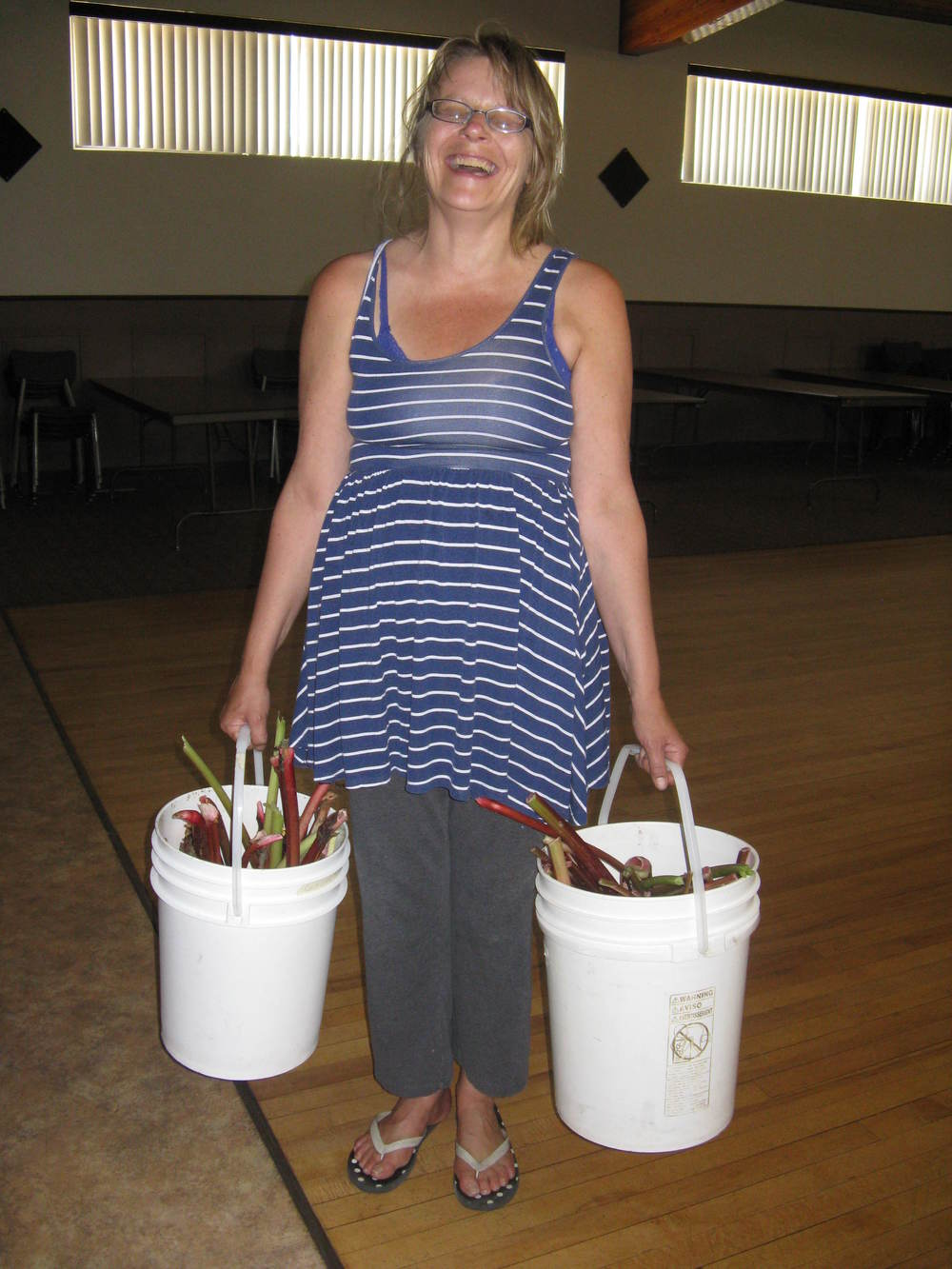 Cristina with Buckets of Rhubarb