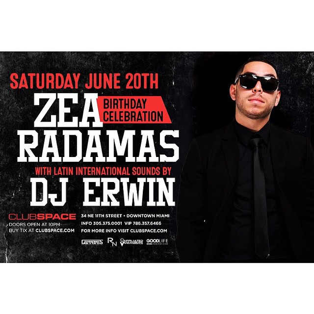 Tonight! @djzea takes over the main room inside @clubspacemiami alongside @djradamas. #HipHop #Zea #Bday #Downtown #TakeMetoSpace #WeRockwell 🚀🚀🚀