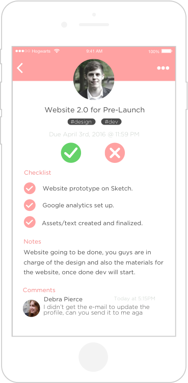 Tack - Task page