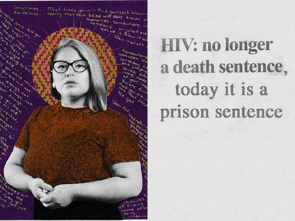 L: Gabriel Garcia Roman, Sonia. 2015, From the series Queer Icons, Photogravure w/ Chine-Colle and silkscreen R: Camilo Godoy, Study (HIV Criminalization), 2013, Inkjet on newsprint