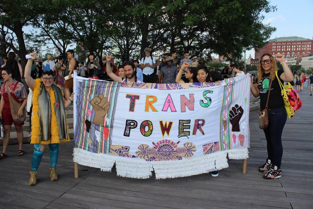 Trans Pride banner by WERRRQSHOP for Audre Lorde Project and Trans Day of Action NYC.