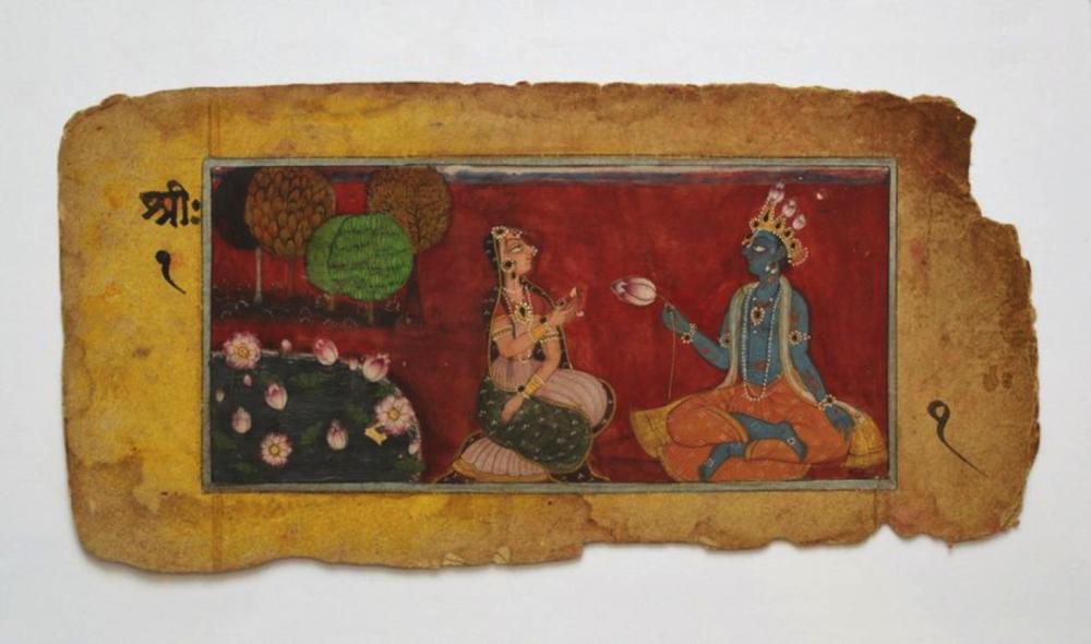 Rama and Sita. INDIAN MINIATURE PAINTING, BASOLI SCHOOL, C.1800.