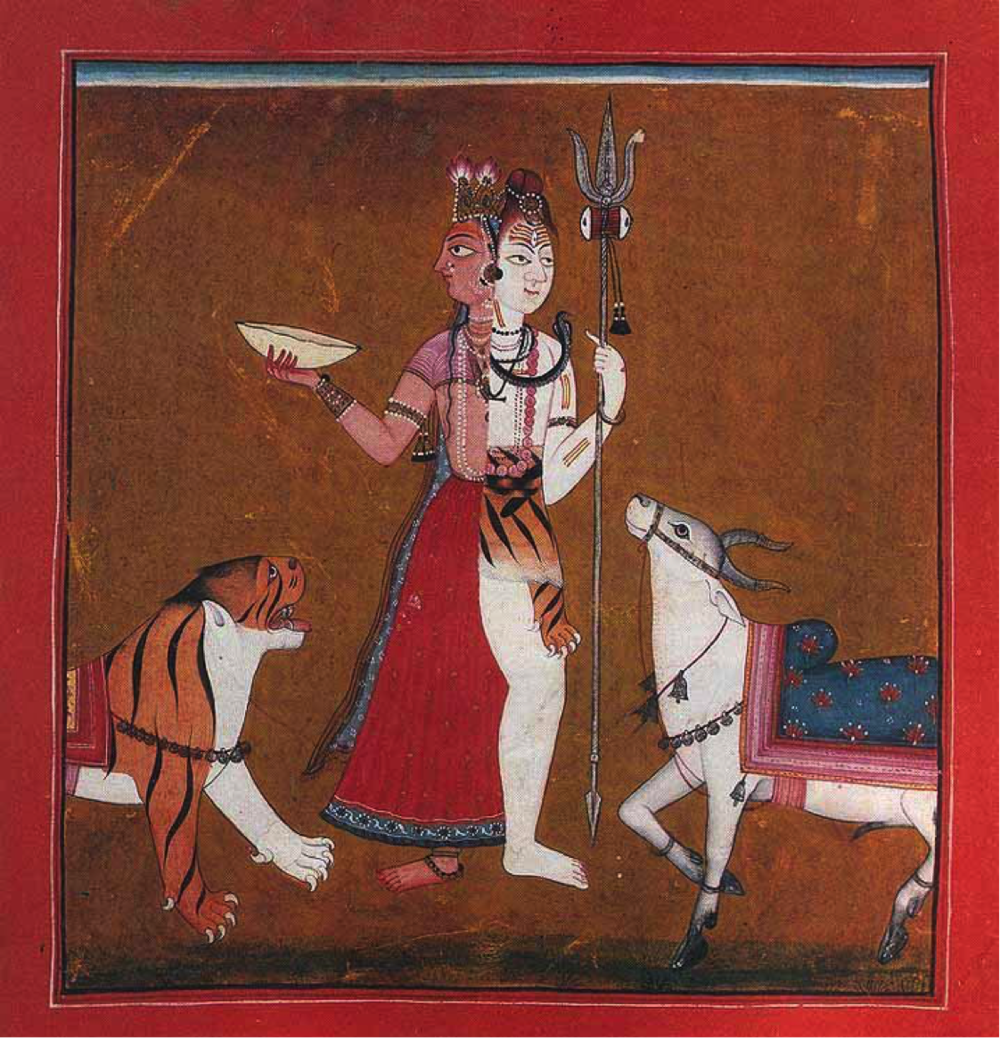 SIVA, THE LORD WHOSE HALF IS WOMAN (ARDHANARISVARA), MANKOT SCHOOL, WESTERN PUNJAB HILLS, C.1710–20. THE ANCIENT FIGURE OF THE ARDHANARISVARA, WHO IS HALF MALE, HALF FEMALE, EXPRESSES THE MASCULINE AND FEMININE THAT ARE ALREADY IN PERFECT HARMONY WITHIN US ALL.