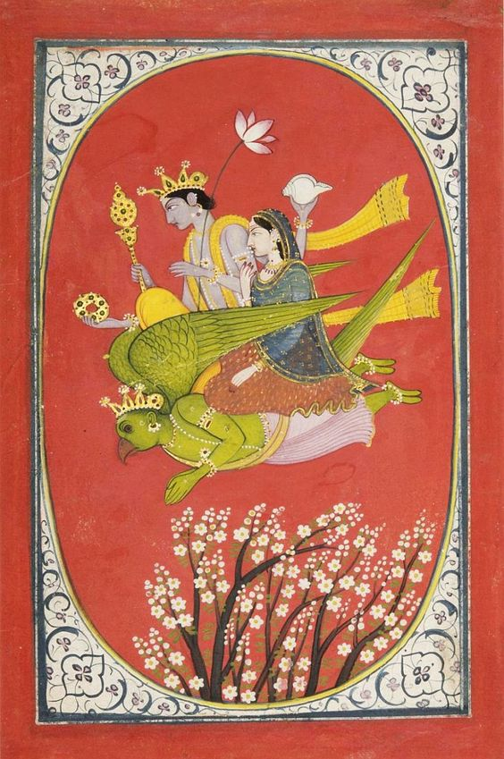 VISHNU AND LAKSHMI FLYING UPON GARUDA. ARTIST/MAKER UNKNOWN. POSSIBLY MADE IN KANGRA, HIMACHAL PRADESH, OR UTTARAKHAND, GARWAHL REGION, INDIA, C1820.