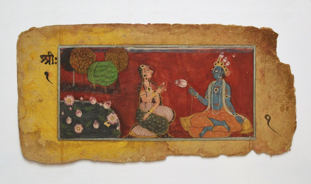 Rama and Sita. INDIAN MINIATURE PAINTING, BASOLI SCHOOL, C.1800.  Hanuman is so close to Ram he is known as the Lord's breath. The breath brings Sita (the feminine) back to Ram for all.