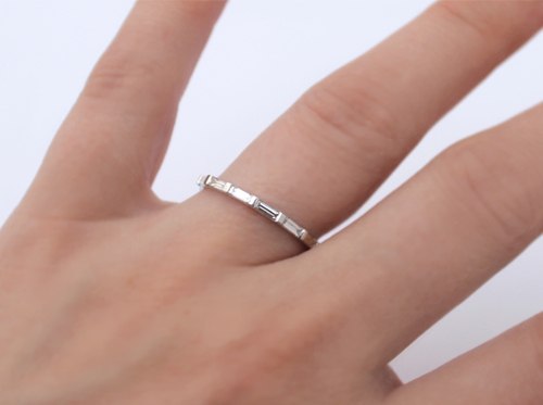 platinum baguette ring white half bands cut set gold band princess eternity channel