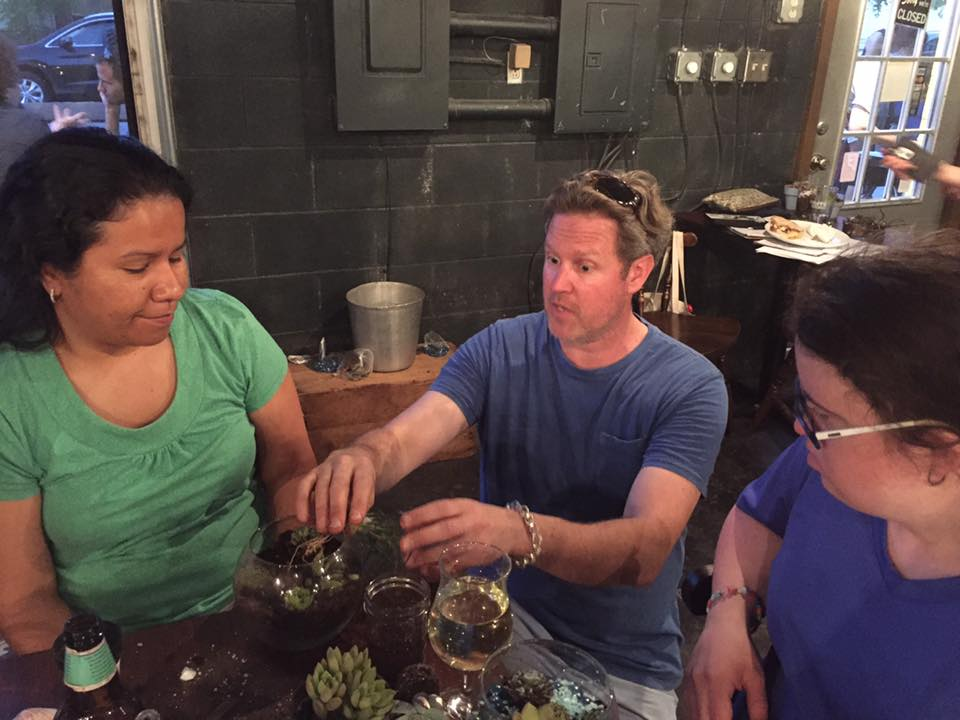 John leading a terrarium class at the Birch in Norfolk, VA