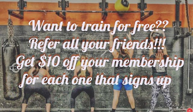You Train For free, you train for free, you train for free! Everyone trains for free! #OprahVoice 🙌🏻😎🙌🏻 #  Every time your friends sign up get $10 off your membership! Spread the word and CONTACT US TODAY! 😬 #TrainForFree #Refferals #TellYourFriends #TheCrossFitCube
