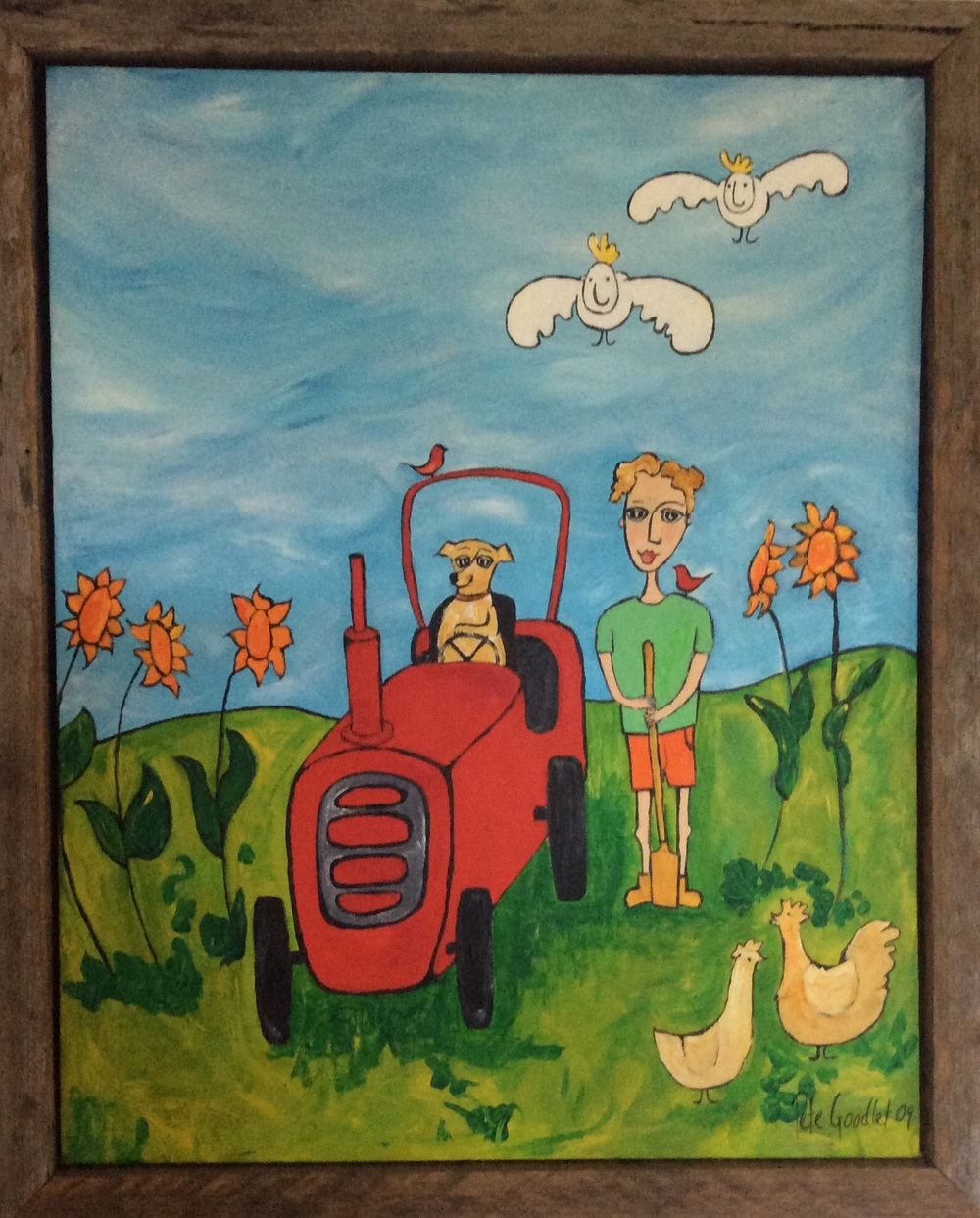 With her newly acquired skills Thelma Louise took to helping around the farm (Framed in tip wood)