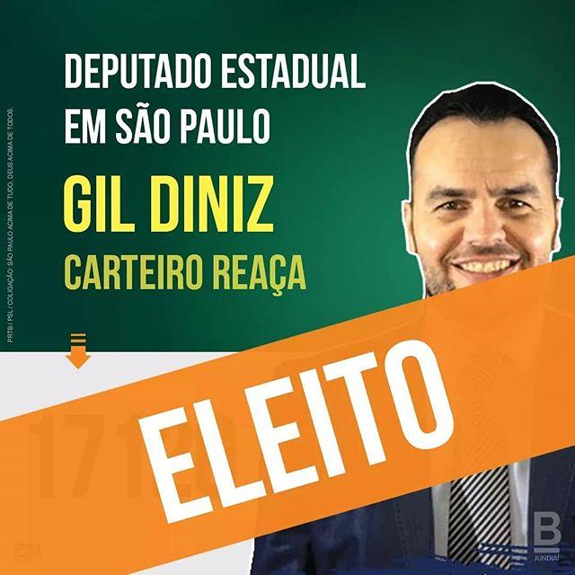 Parabéns, Gil Diniz! Grande Vitória. Você me representa demais.  Tenho certeza de que fará um excelente trabalho na Assembléia. @carteiroreaca #GilDiniz17120 #BolsonaroPresidente17