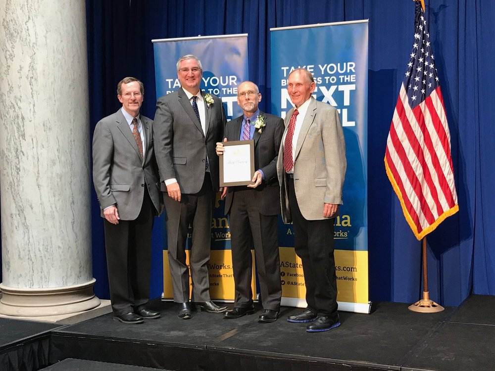 Ferguson Law was awarded the Half Century Business Award on April 11, 2018. We've helped clients for 62 years. - Pictured L to R: Ted Ferguson, Indiana Gov. Eric J. Holcomb, David L. Ferguson and Steve Ferguson.