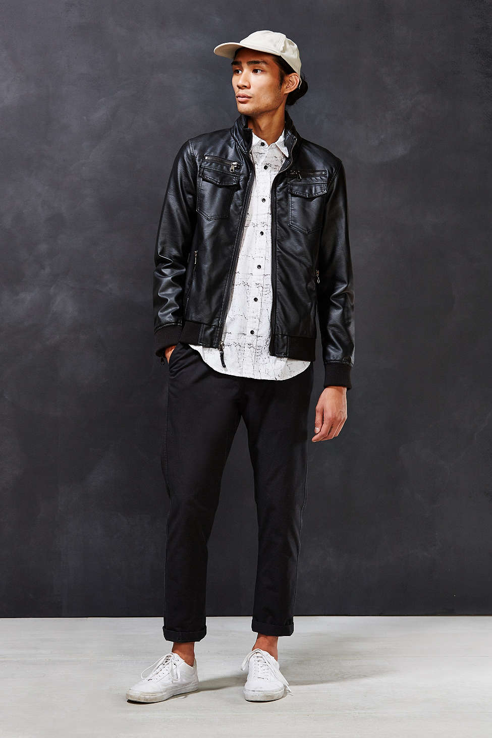 Moody black backdrop for UO mens site