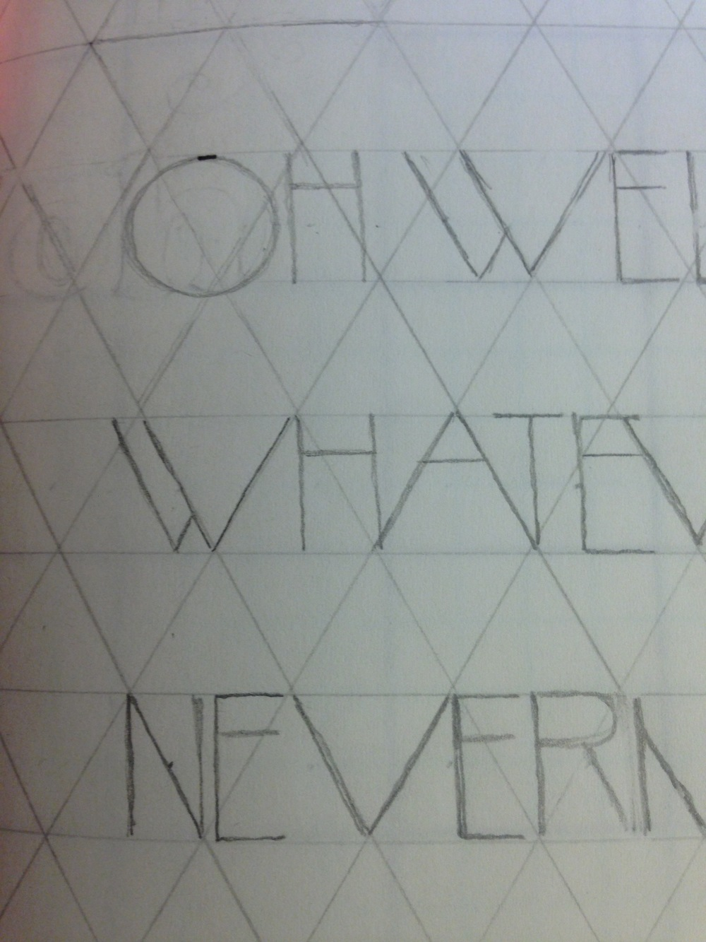 "so I sketch out the letters and love how the ""A"" and ""V"" fall perfectly into the equilateral triangles. Happy accidents. Oh - and if you're wondering how to make a triangular grid like this, use a 60° angle, lines equidistant apart."
