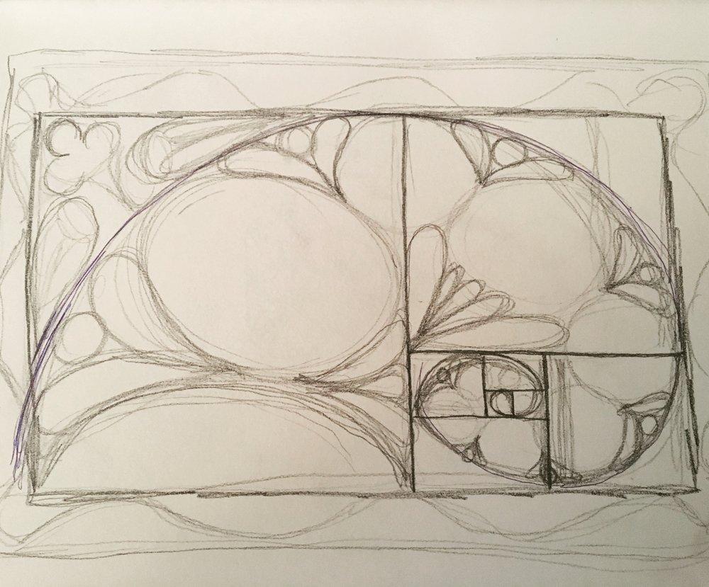 fibonacci spiral sketch