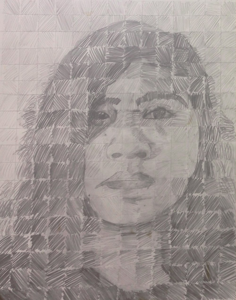 self portrait based on Chuck Close | 7th grade