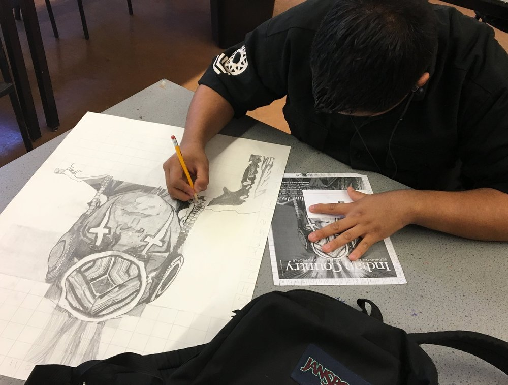 A student works on a cultural portrait | 10th grade