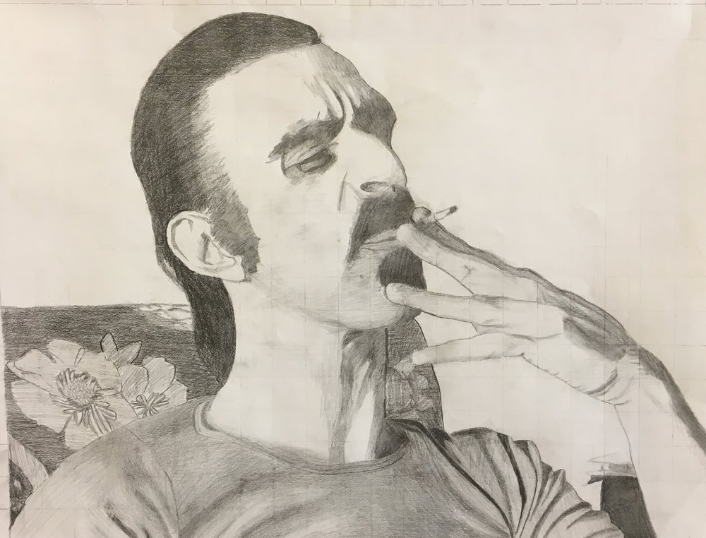 Frank Zappa | pencil portrait | 11th grade