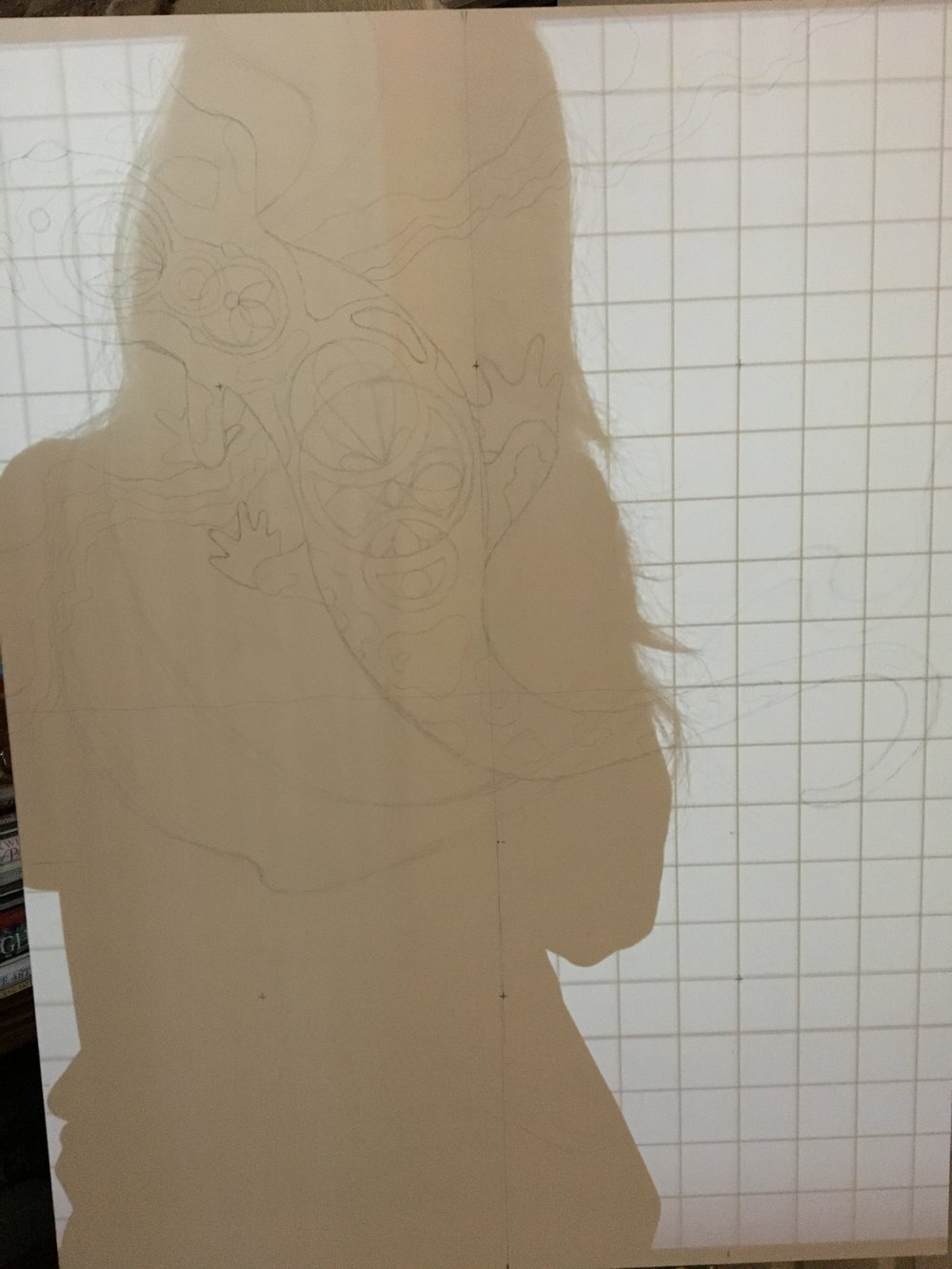 I projected a grid onto the canvas so I could make sure all of my quatrefoil leaves were lined up. It drives some other people crazy when I break out my rulers, compass, and level, but hey what can I say, I'm a nerd. The problem here is that most canvases don't have perfectly square corners. Ergh.