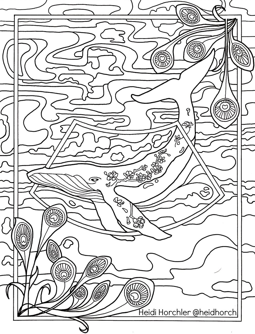 The Tattooed Whale - Daydream Odyssey coloring page