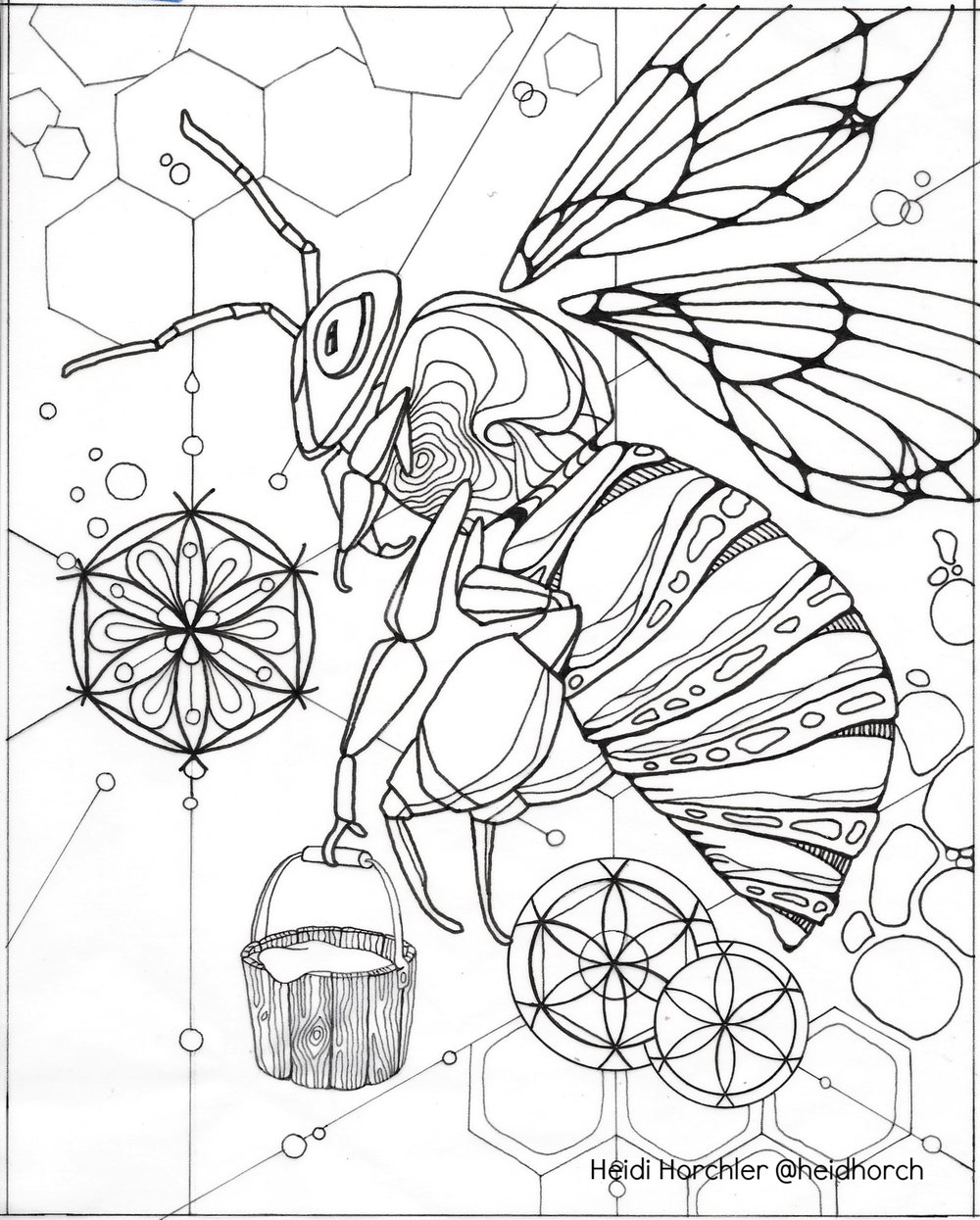 Bee - Daydream Odyssey coloring page