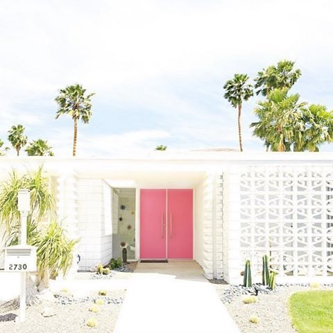 Midcentury modern architecture  breeze blocks . And that pink door!