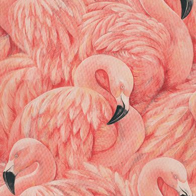 The peachy-pink flamingo wallpaper in Jessica's salon.