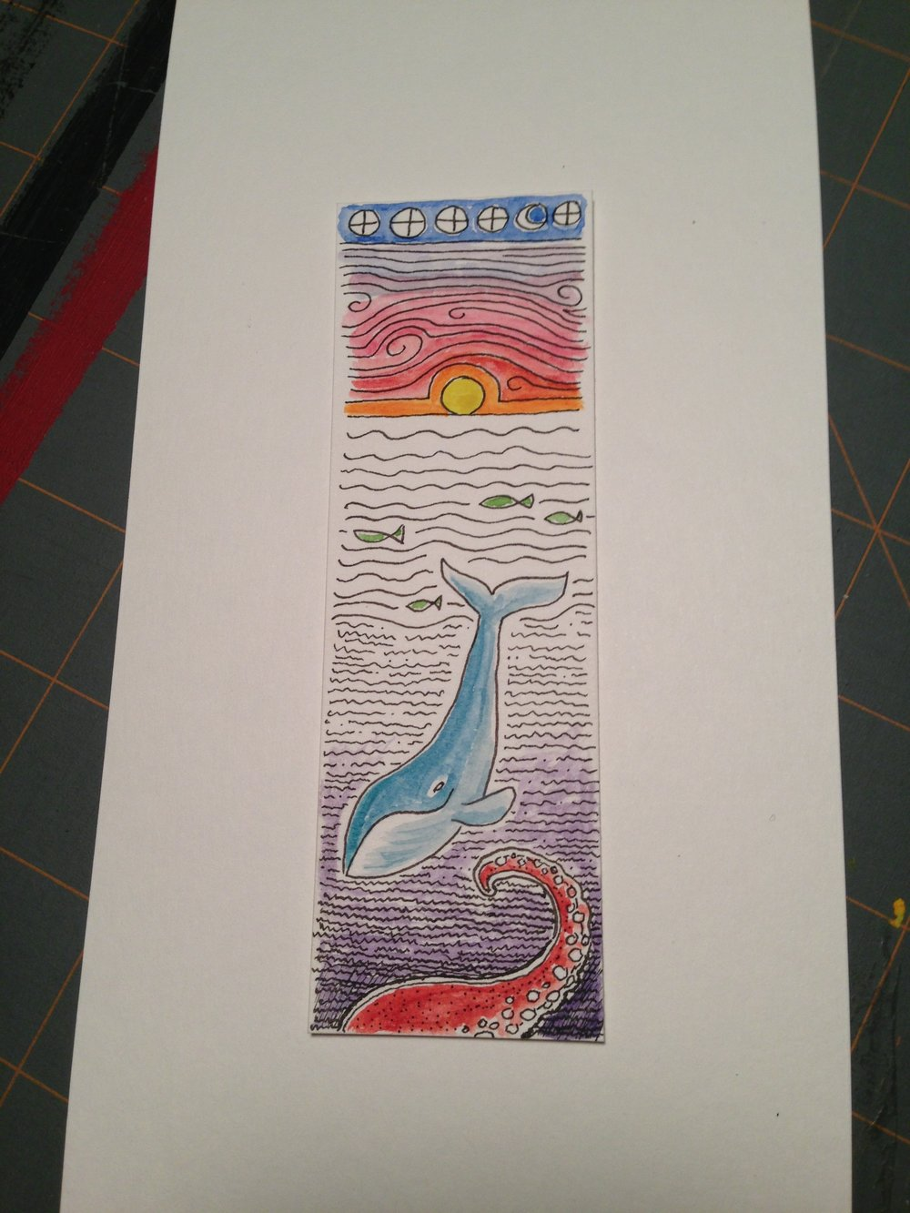 A bookmark I made for a friend. More  whales  and  cephalopods  to come!